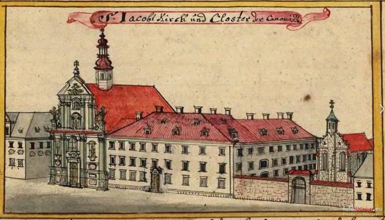 1755 , Kościół św. Jakuba i klasztor augustianek. Po prawej widoczny szpital św. Anny. źródło: Topographia oder Prodromus Delineati Silesiae Ducatus Friedrich Bernhard Wernher, 1755