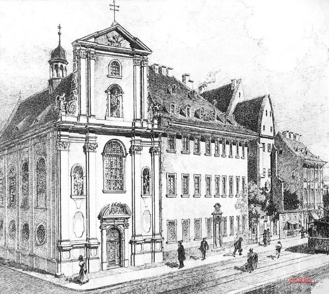 1899 , Kościół św. Anny, seminarium katolickie oraz szpital św. Anny. Grafika Otto F. Probst